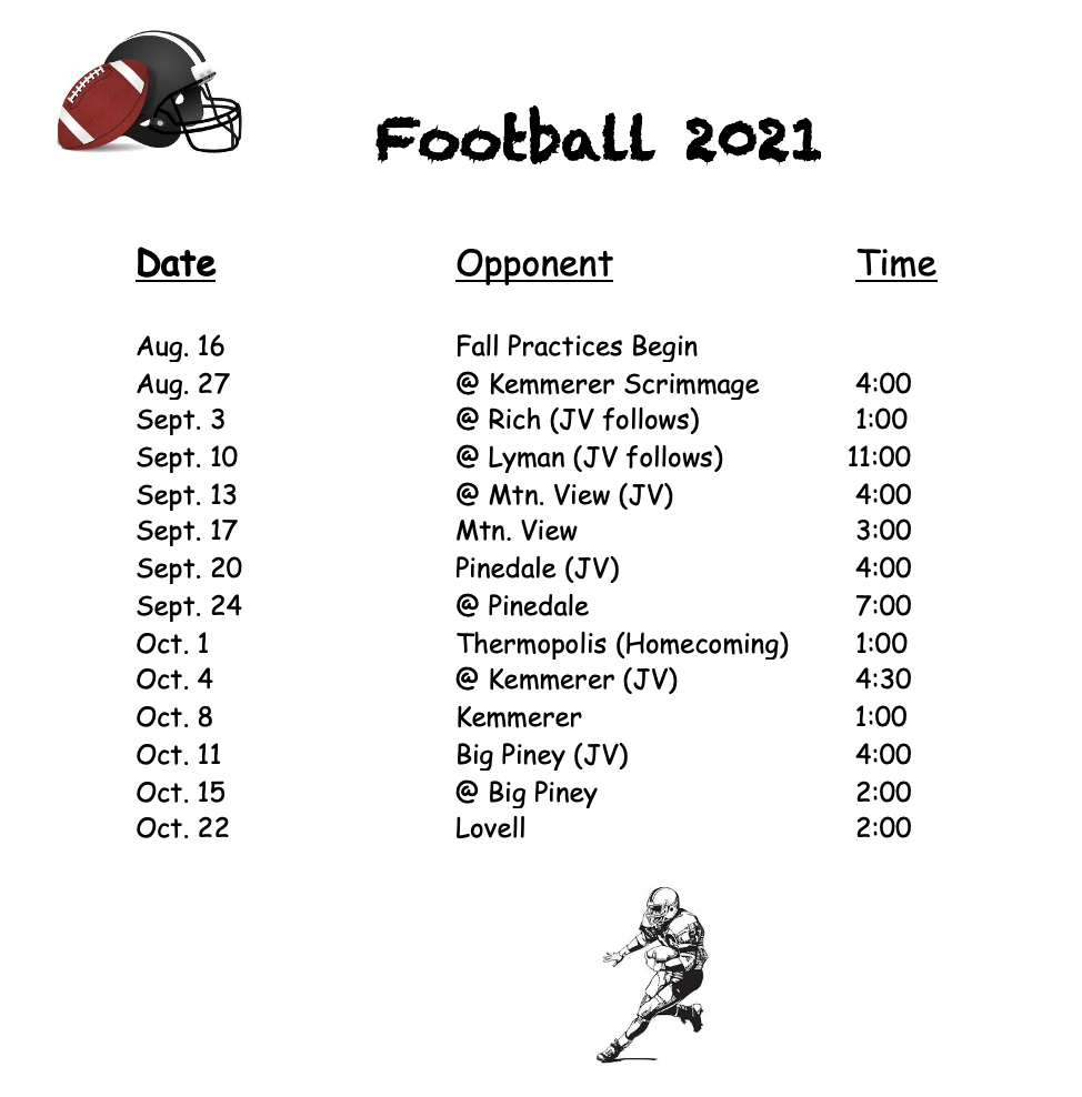 Football Schedule, all information is on the calendar