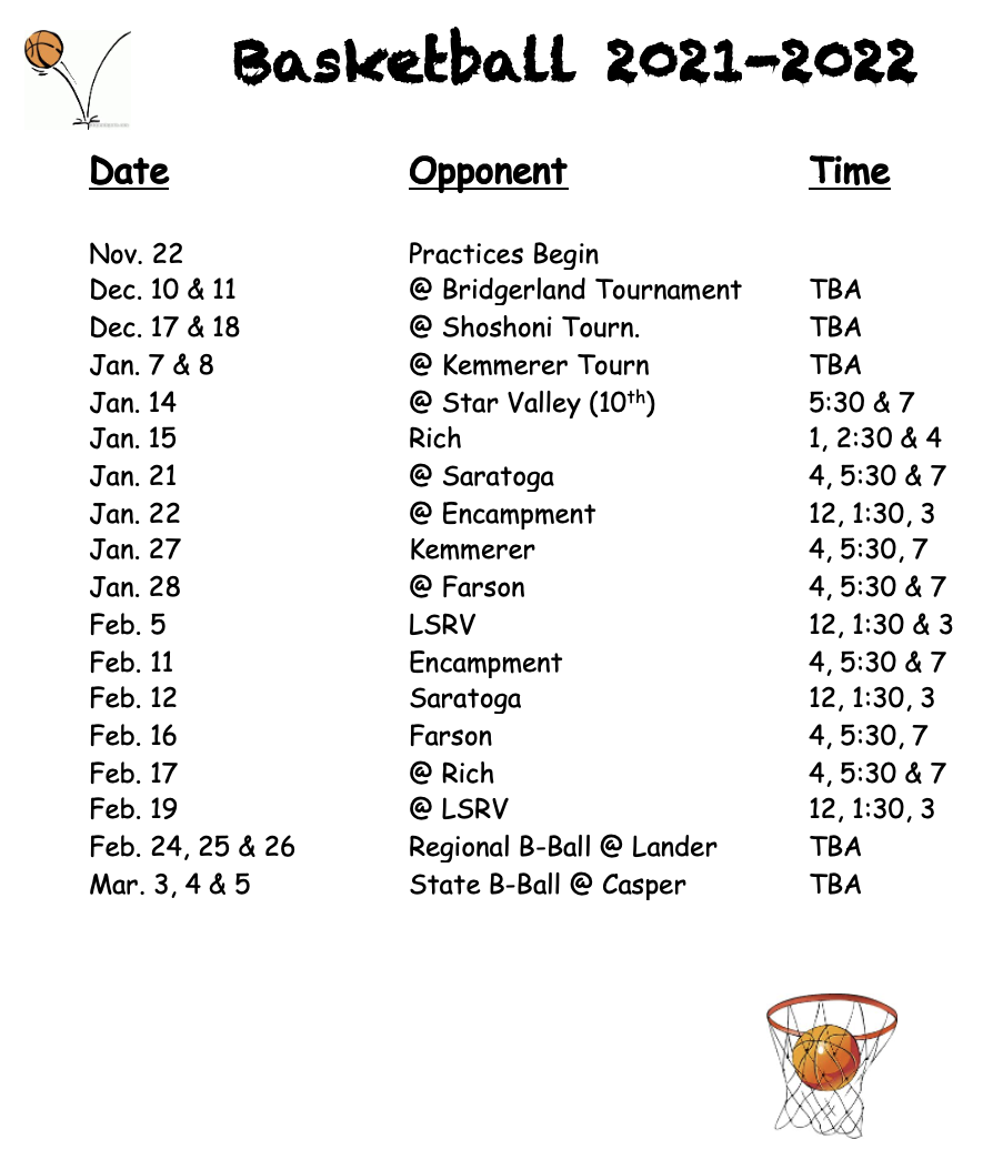 Basketball Schedule, all information is on the calendar