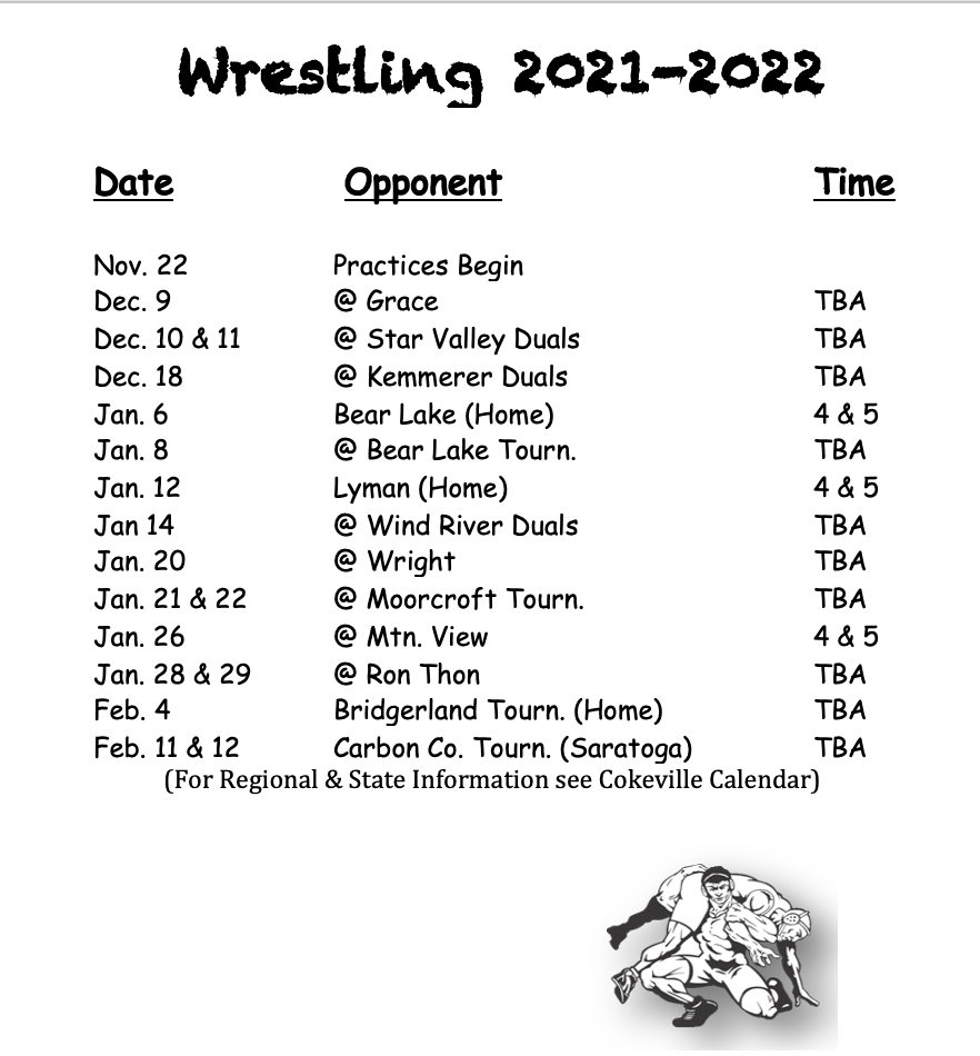 Wrestling Schedule, all information is on the calendar