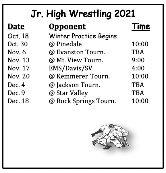 JH Wrestling Schedule, all information is on the calendar